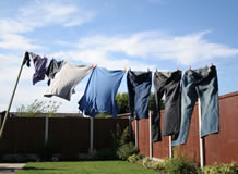 Jeans drying on a clothesline